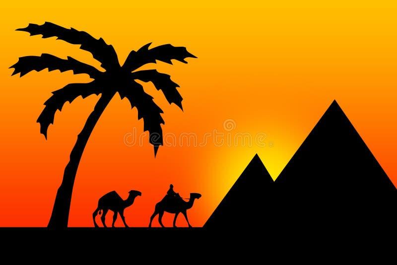 egypt solnedgång vektor illustrationer
