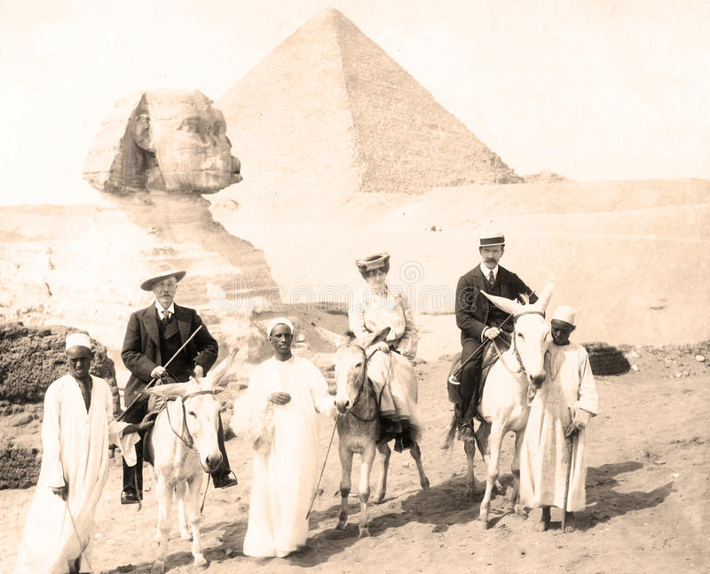 Vintage Sphinx and pyramids at Giza, Cairo with Tourists 1880 stock photos