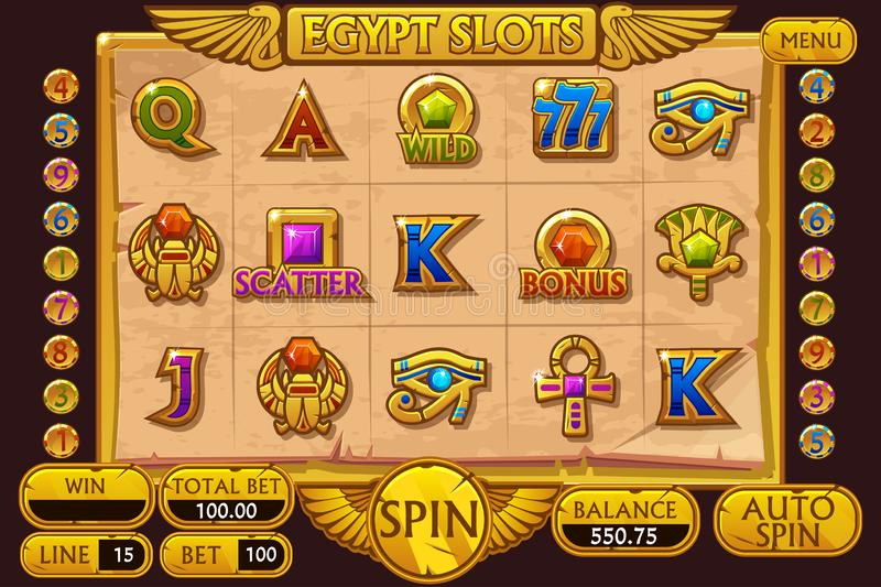 EGYPT style Casino slot machine game. Complete Interface Slot Machine and buttons on separate layers stock illustration