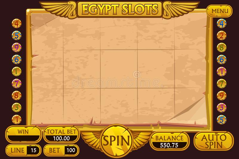 EGYPT style Casino slot machine game. Complete Interface Slot Machine and buttons on separate layers. royalty free illustration
