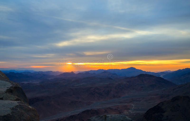 Egypt, Sunrise In Sinai Mountains Stock Photo - Image of ...