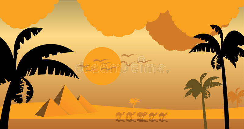 Download In Egypt, Sunset Camels And Palm. Stock Photography - Image: 12770552