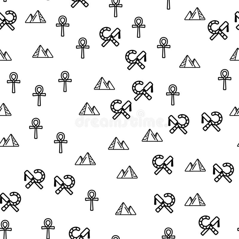 Egypt Symbols And Sight Seamless Pattern Vector. Pyramids, Religious Sign Of Ancient Egyptian Cross Ankh, Crook And Flail Symbols Monochrome Texture Icons royalty free illustration