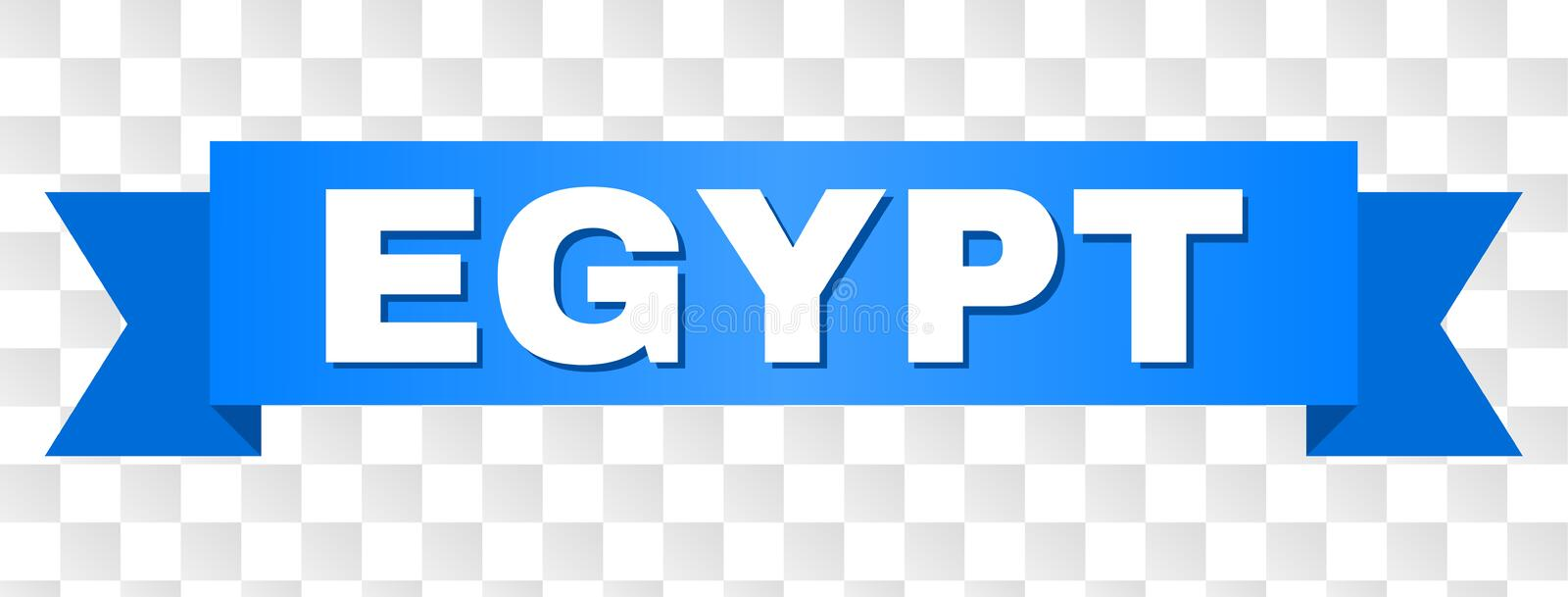Blue Tape with EGYPT Text. EGYPT text on a ribbon. Designed with white caption and blue tape. Vector banner with EGYPT tag on a transparent background royalty free illustration
