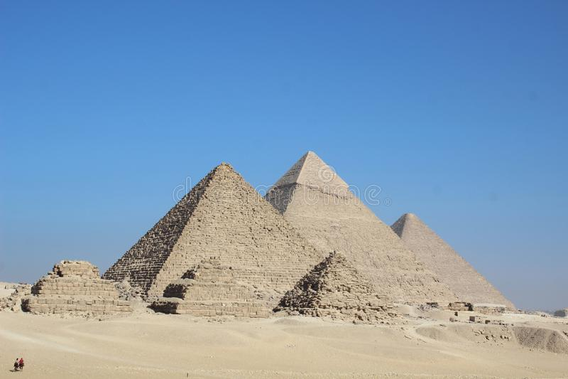 Egypt three pyramids. Egypt giza three pyramids full view cheops khafre stock photos