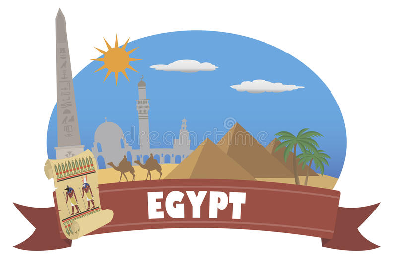 Egypt. Tourism and travel stock illustration