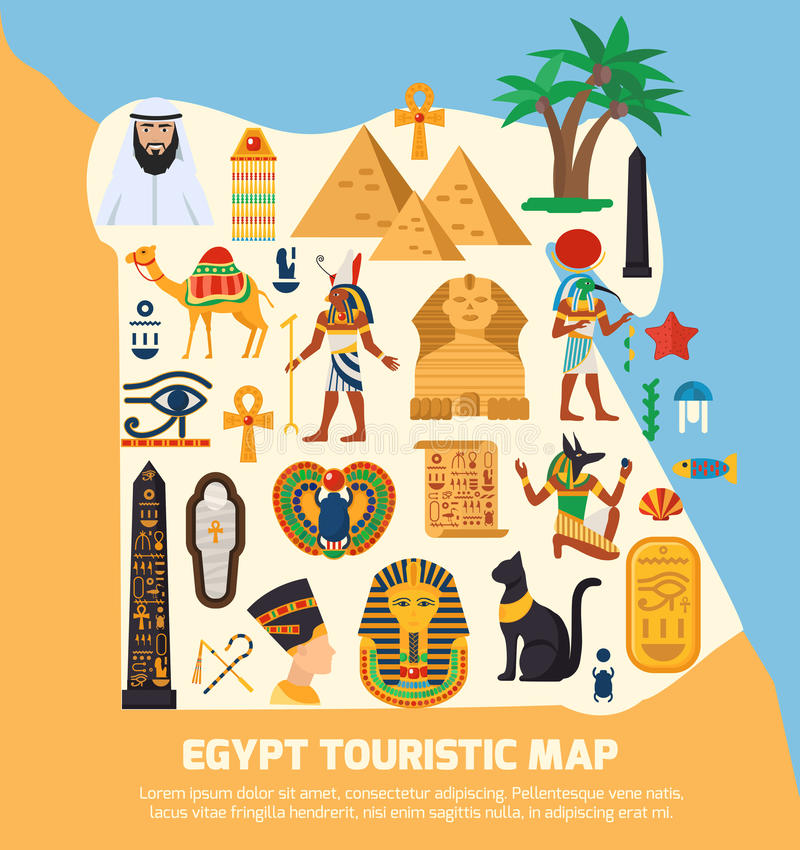 Egypt Touristic Map. With national landmarks and sights symbols flat vector illustration vector illustration