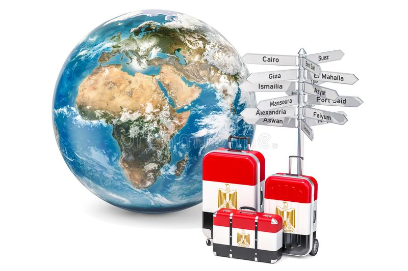 Egypt travel concept. Suitcases with Egyptian flag, signpost and. Earth globe royalty free illustration