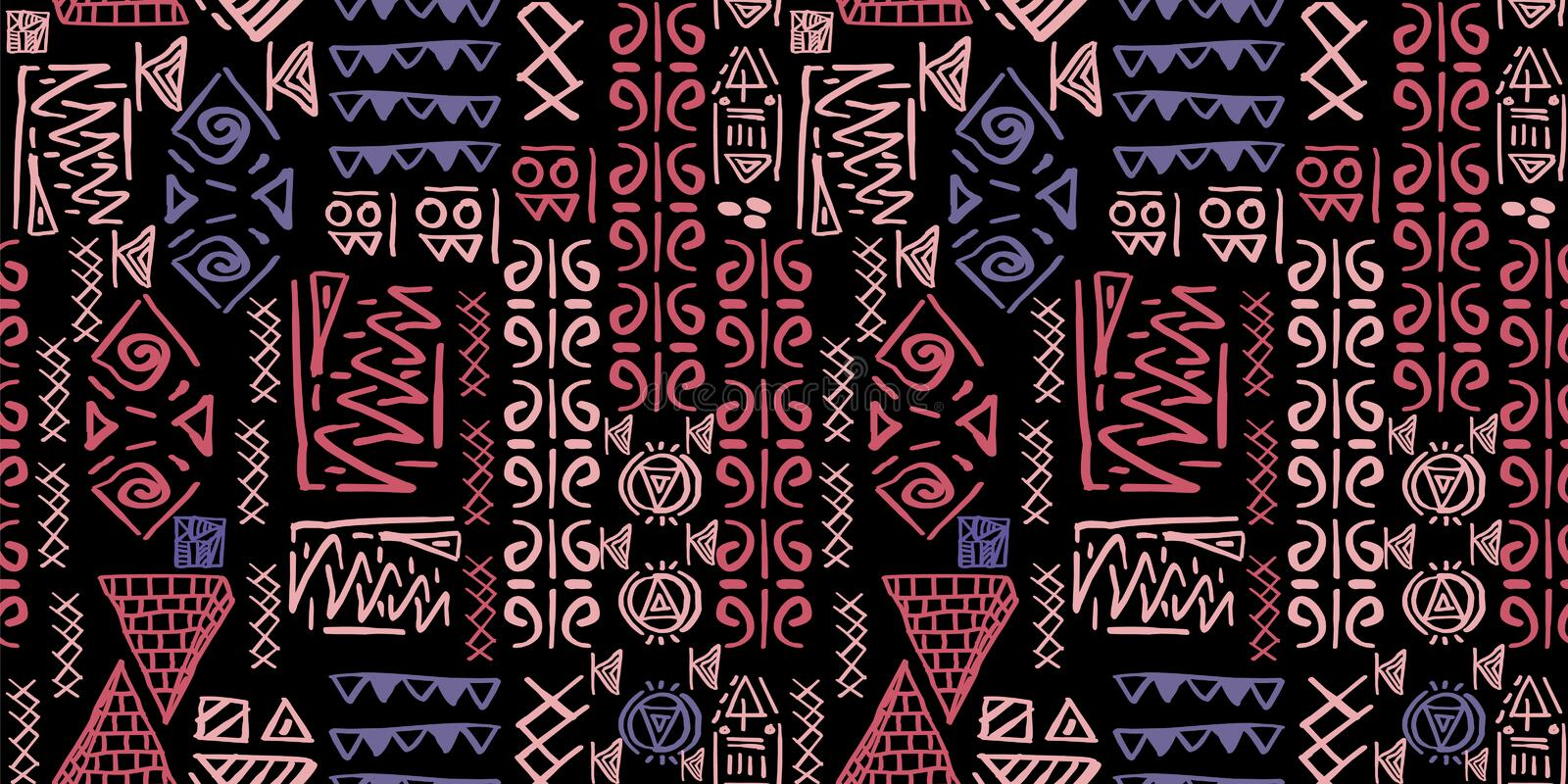 Tribal pattern vector with seamless egyptian symbol ancient style. Vintage illustration background for fashion textile print and w royalty free illustration