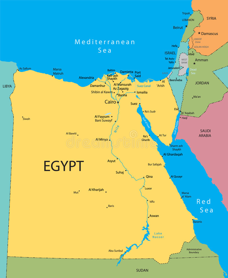 Egypt vector map. Egypt, Israel and Jordan country vector map