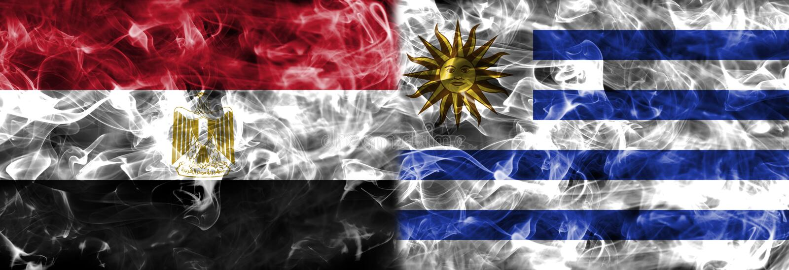 Egypt vs Uruguay smoke flag, group A, Fifa football world cup 2018, Moscow, Russia stock illustration