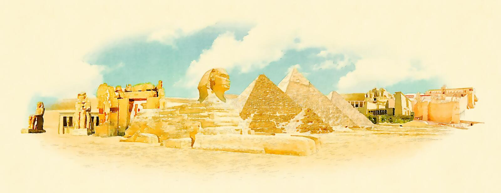Egypt. Water color panoramic egypt illustration