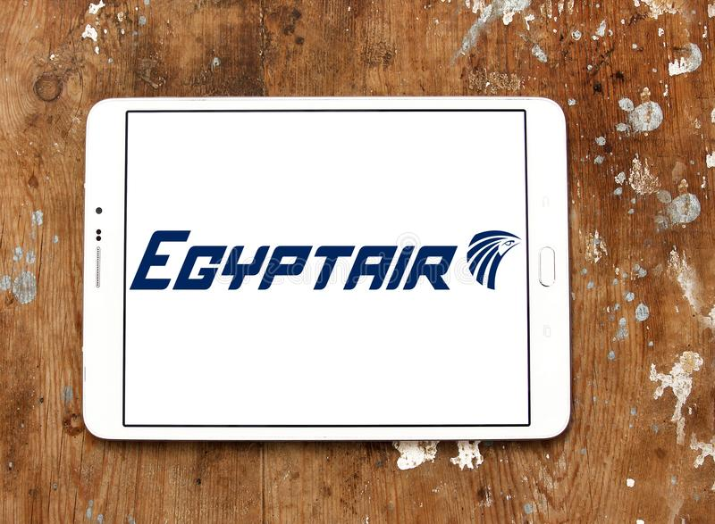 EgyptAir airlines logo. Logo of EgyptAir airlines on samsung tablet. EgyptAir is the flag carrier airline of Egypt. The airline is based at Cairo International stock images