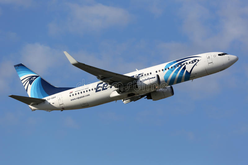 EgyptAir Boeing 737-800. Munich, Germany - October 24, 2013: An Egyptair Boeing 737-800 with the registration SU-GDY takes off from Munich Airport (MUC) in royalty free stock photos