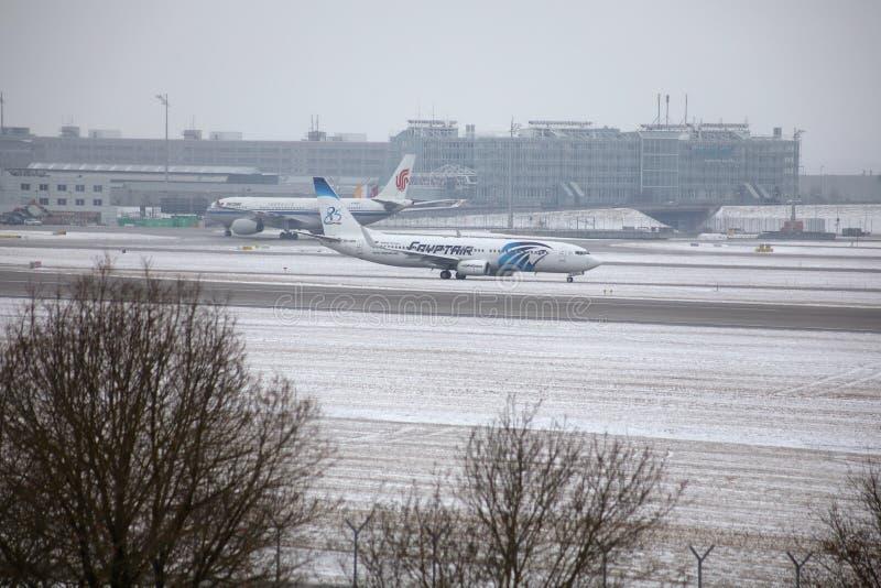 EgyptAir Boeing 737-800 SU-GEH in Munich Airport, MUC stock image