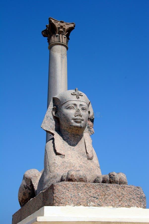 Egypte Alexandra Pompey Pillar en Sfinx royalty-vrije stock fotografie