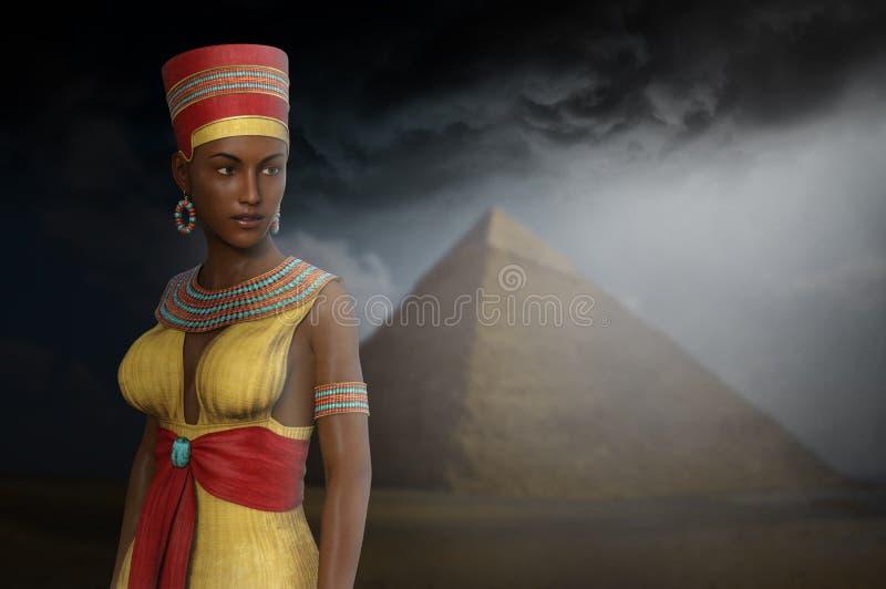 Egypte, Egyptische Koningin, Vrouw, Piramide royalty-vrije stock afbeelding