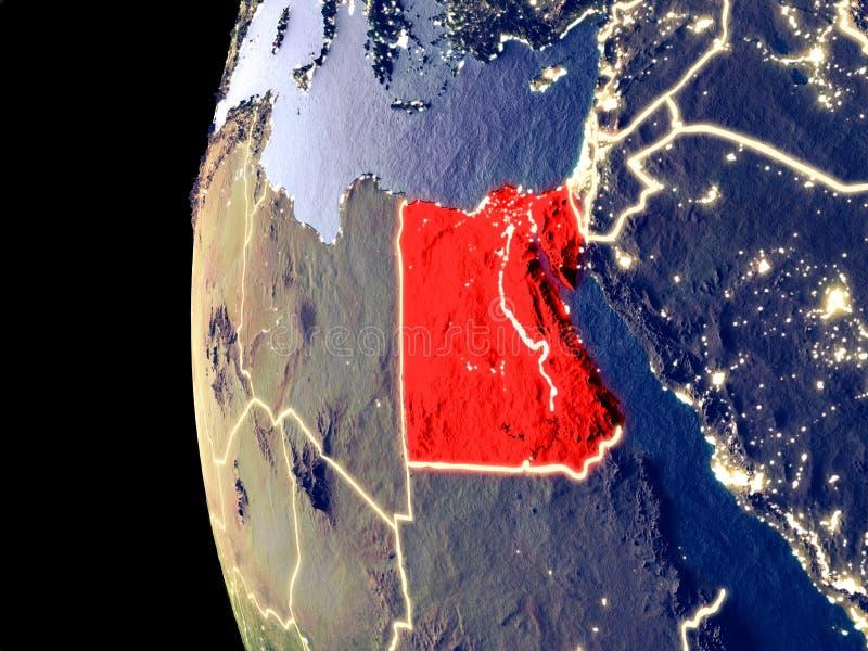 Egypte op bol van ruimte stock illustratie