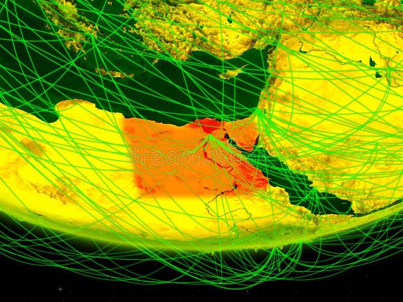 Egypte op groen model van aarde met netwerk die digitaal tijdperk, reis en mededeling vertegenwoordigen 3D Illustratie Elementen  royalty-vrije stock fotografie