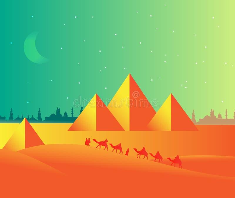 Egypte-piramide-landschap royalty-vrije illustratie
