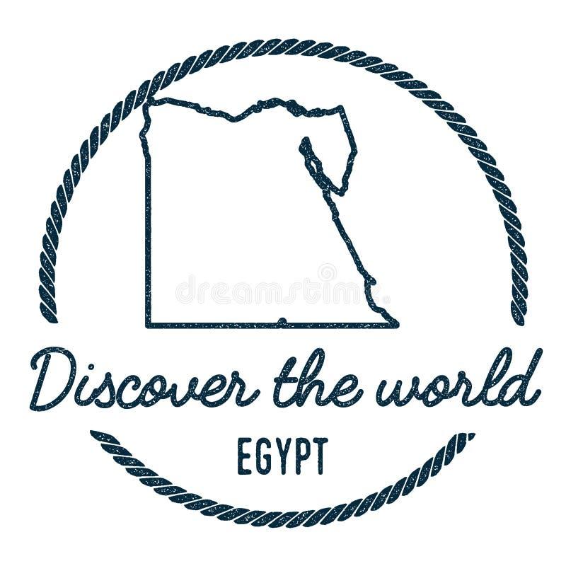 Egypten översiktsöversikt Tappning upptäcker världen stock illustrationer