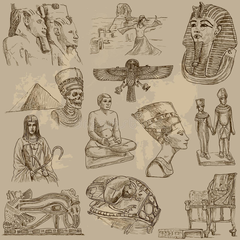 Egypten stock illustrationer