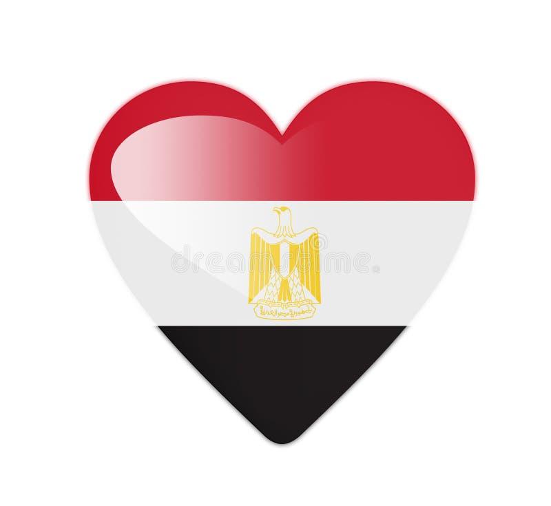 Egypten 3D hjärta formad flagga royaltyfri illustrationer