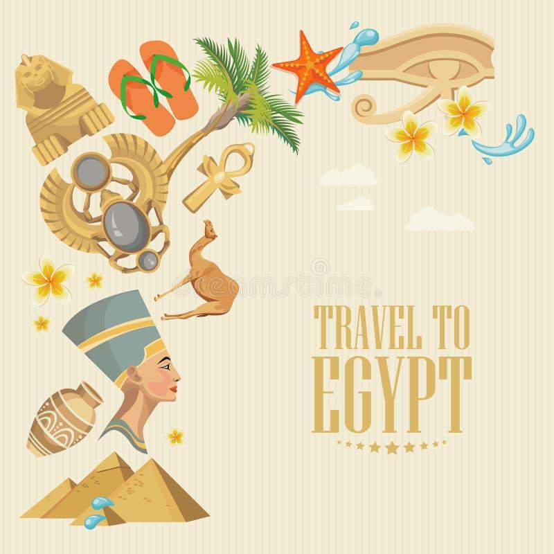 Egypten färgrik vektor med pyramider Egyptiska traditionella symboler i plan design Semester och sommar stock illustrationer
