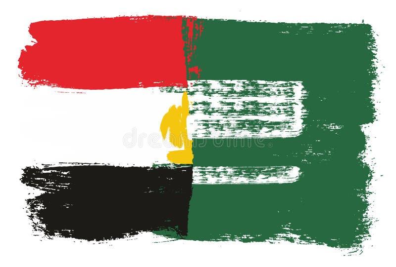 Egypten flagga & hand för Saudiarabien flaggavektor som målas med den rundade borsten royaltyfri illustrationer