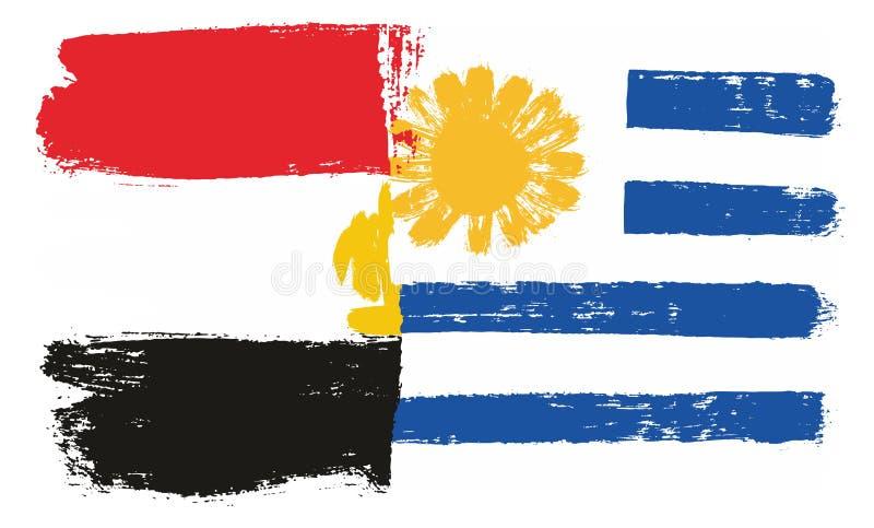 Egypten flagga & hand för Uruguay flaggavektor som målas med den rundade borsten stock illustrationer