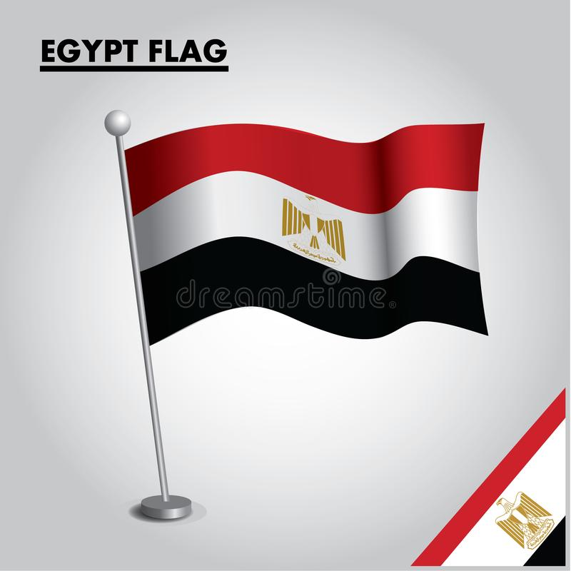 EGYPTEN flagganationsflagga av EGYPTEN på en pol stock illustrationer