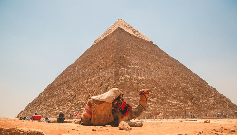 Egypten Kairo; Augusti 19, 2014 - de egyptiska pyramiderna i Kairo Bågen av templet royaltyfria bilder