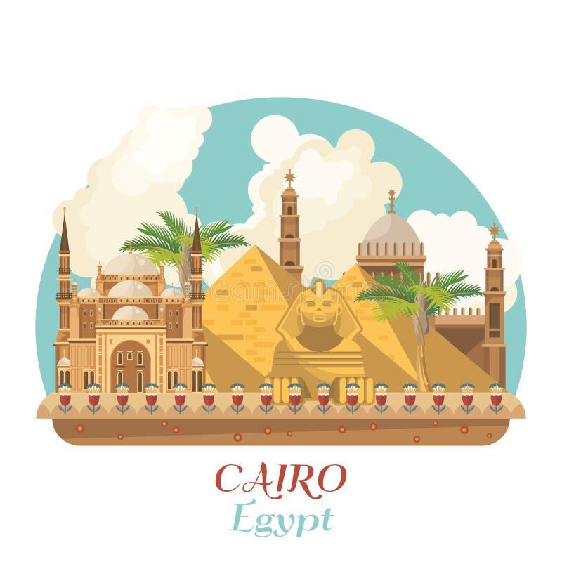 Egypten loppvektor med pyramider Egyptiska traditionella symboler i plan design Abstrakt vektorillustration Semester och sommar stock illustrationer