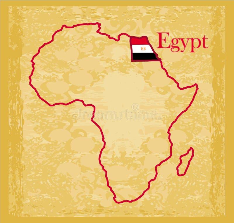 Egypten på politisk översikt för faktisk tappning av africa royaltyfri illustrationer