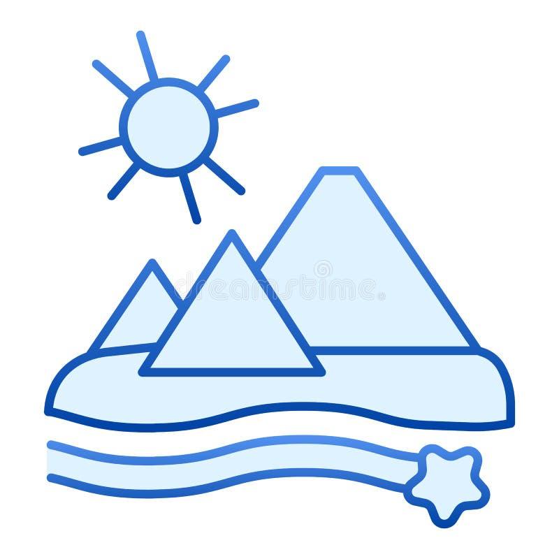 Egypten plan symbol Blåa symboler för pyramider i moderiktig plan stil Design för ökenlutningstil som planläggs för rengör vektor illustrationer
