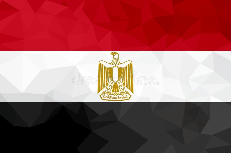 Egypten polygonal flagga Mosaisk modern bakgrund planlägg geometriskt vektor illustrationer