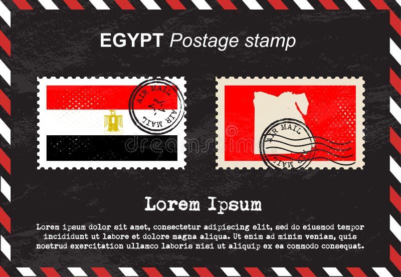Egypten portostämpel, tappningstämpel, flygpostkuvert vektor illustrationer