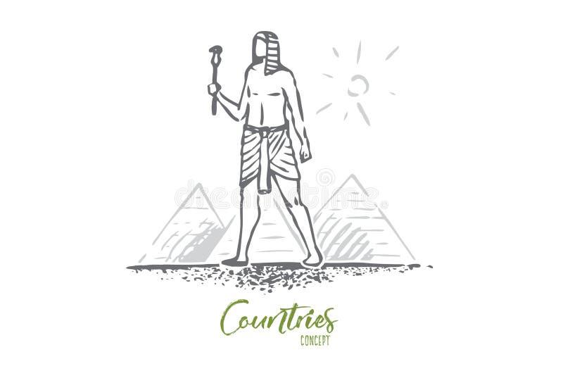 Egypten pyramid, sfinx som ?r forntida, ?kenbegrepp Hand dragen isolerad vektor vektor illustrationer
