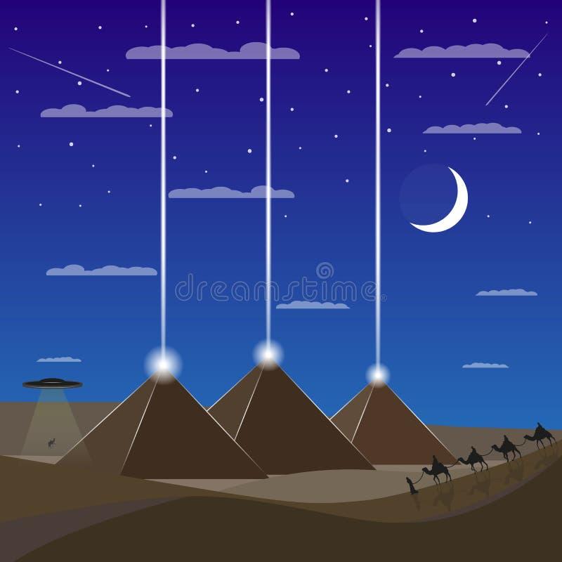 Egypten pyramider med ufo Husvagn av kamel stock illustrationer