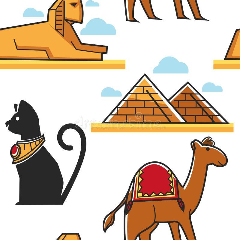 Egypten sömlös modellpyramid och sfinxkatt och kamel stock illustrationer