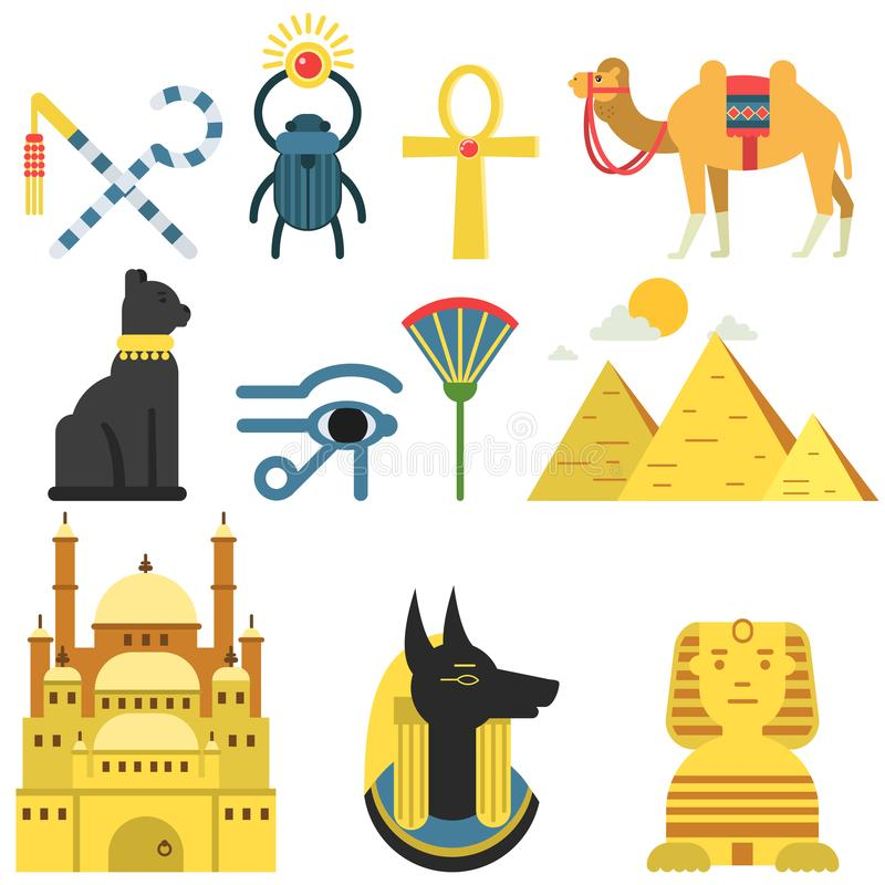 Egypten samlingsuppsättning med traditionella symboler av landet, tecken av forntida Egypten, traditionell egyptisk kulturvektor royaltyfri illustrationer