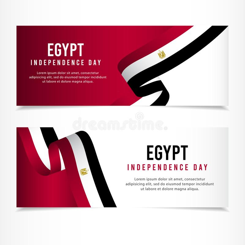 Egypten självständighetsdagenberöm, illustration för mall för vektor för fastställd design för baner royaltyfri illustrationer