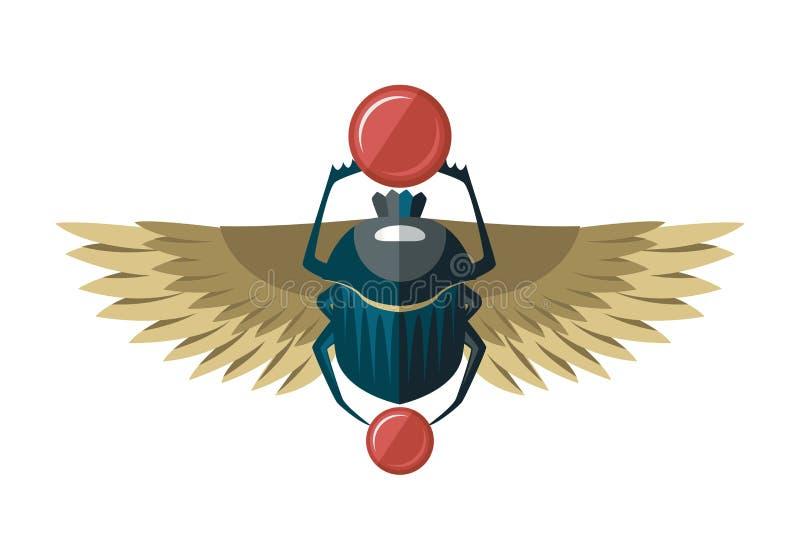 Egypten skarabé med guld- vingar royaltyfri illustrationer