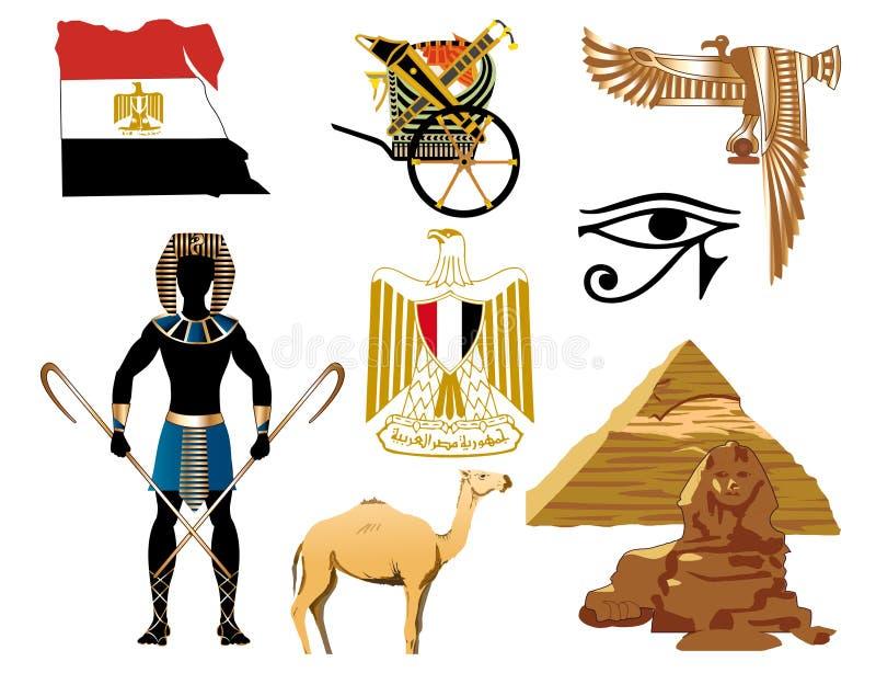 Egypten symboler stock illustrationer