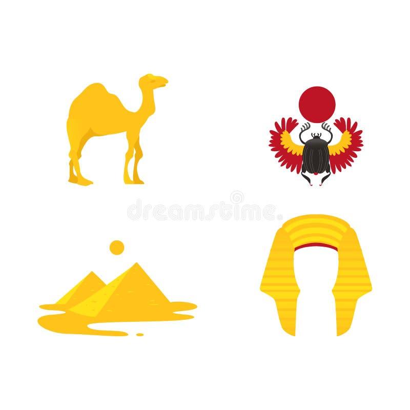 Egypten symboler - krona, kamel, pyramider, skarabé royaltyfri illustrationer