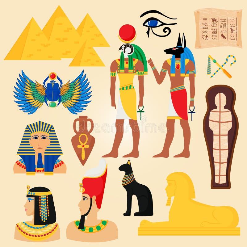 Egypten symboler och forntida pyramider för gränsmärken deserterar den egyptiska illustrationen för vektorn för den folkgudcleopa vektor illustrationer
