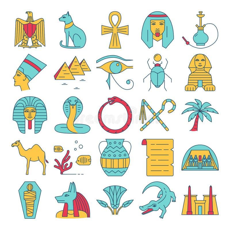 Egypten symboler ställde in i den kulöra linjen stil vektor illustrationer