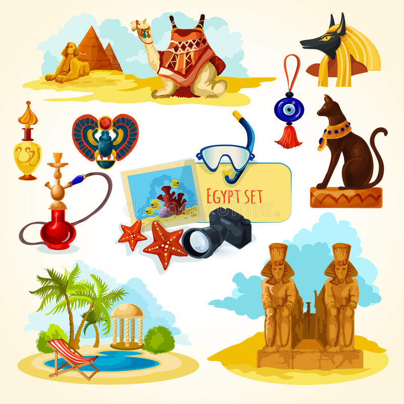Egypten Touristic uppsättning royaltyfri illustrationer