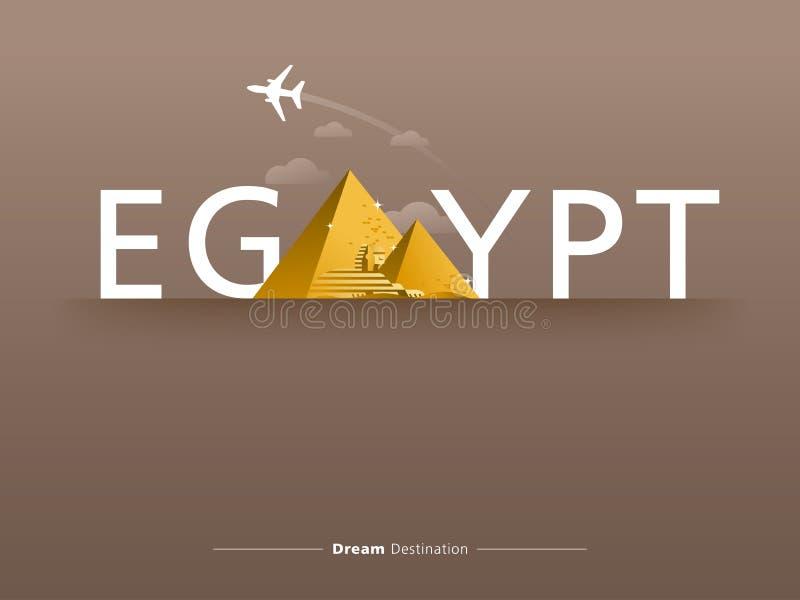 Egypten typografi royaltyfri illustrationer