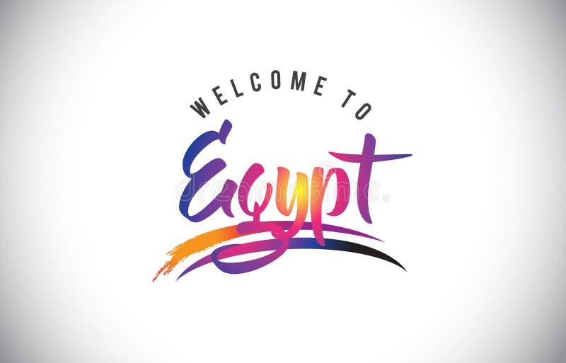 Egypten välkomnande till meddelandet i purpurfärgade vibrerande moderna färger stock illustrationer